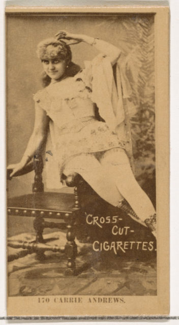 Card Number 170, Carrie Andrews, from the Actors and Actresses series (N145-2) issued by Duke Sons & Co. to promote Cross Cut Cigarettes