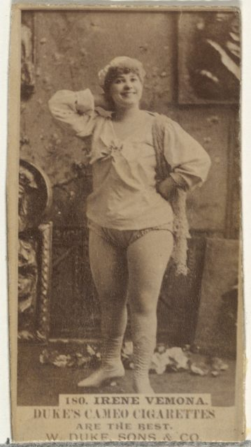 Card Number 180, Irene Varona, from the Actors and Actresses series (N145-5) issued by Duke Sons & Co. to promote Cameo Cigarettes