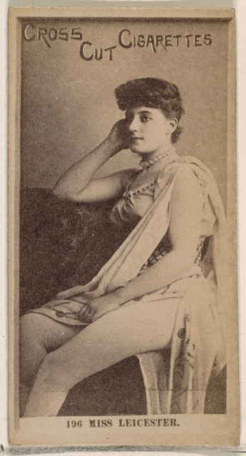 Card Number 196, Miss Leicester, from the Actors and Actresses series (N145-2) issued by Duke Sons & Co. to promote Cross Cut Cigarettes