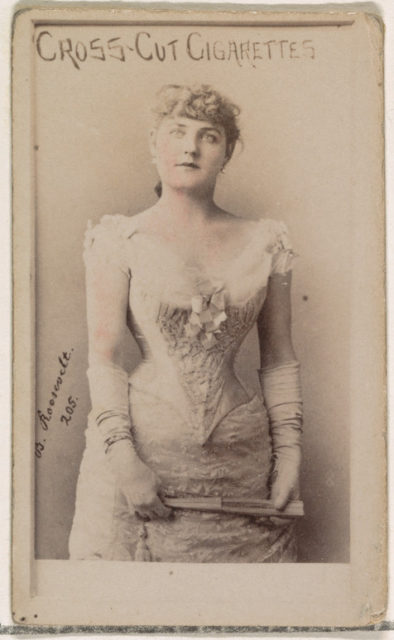 Card Number 205, Blanche Roosevelt, from the Actors and Actresses series (N145-1) issued by Duke Sons & Co. to promote Cross Cut Cigarettes