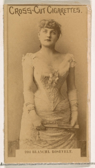Card Number 205, Blanche Roosevelt, from the Actors and Actresses series (N145-2) issued by Duke Sons & Co. to promote Cross Cut Cigarettes