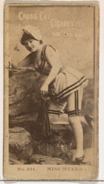 Card Number 224, Miss Myerha, from the Actors and Actresses series (N145-2) issued by Duke Sons & Co. to promote Cross Cut Cigarettes