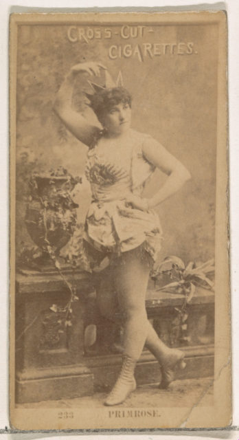 Card Number 233, Clara Primrose, from the Actors and Actresses series (N145-2) issued by Duke Sons & Co. to promote Cross Cut Cigarettes