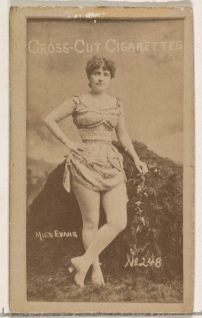 Card Number 248, Miss Evans, from the Actors and Actresses series (N145-1) issued by Duke Sons & Co. to promote Cross Cut Cigarettes