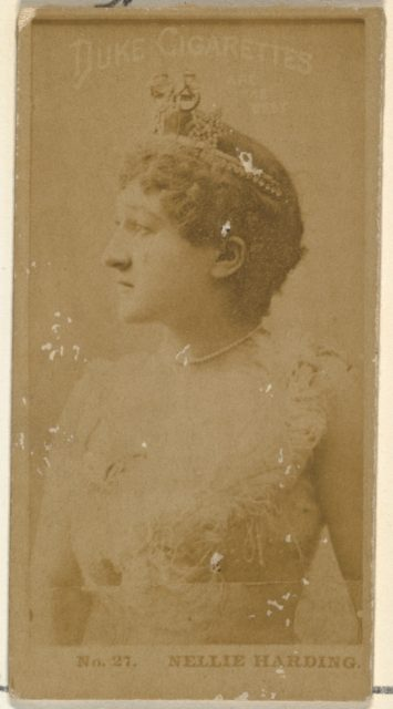 Card Number 27, Nellie Harding, from the Actors and Actresses series (N145-6) issued by Duke Sons & Co. to promote Duke Cigarettes