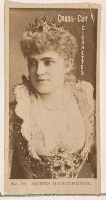 Card Number 28, Agnes Huntington, from the Actors and Actresses series (N145-2) issued by Duke Sons & Co. to promote Cross Cut Cigarettes