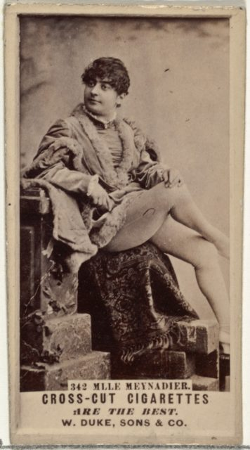 Card Number 342, Mlle. Meynadier, from the Actors and Actresses series (N145-3) issued by Duke Sons & Co. to promote Cross Cut Cigarettes
