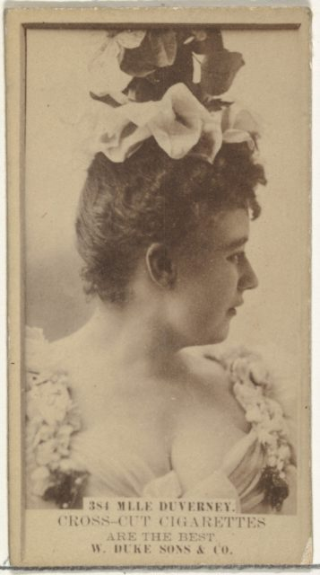 Card Number 384, Mlle. Duverney, from the Actors and Actresses series (N145-3) issued by Duke Sons & Co. to promote Cross Cut Cigarettes