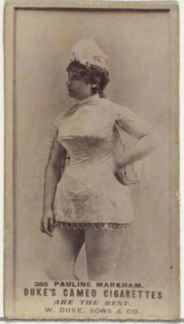 Card Number 385, Pauline Markham, from the Actors and Actresses series (N145-5) issued by Duke Sons & Co. to promote Cameo Cigarettes