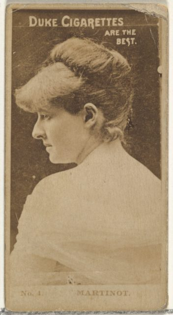 Card Number 4, Sadie Martinot, from the Actors and Actresses series (N145-6) issued by Duke Sons & Co. to promote Duke Cigarettes