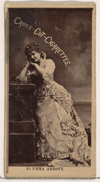 Card Number 45, Emma Abbott, from the Actors and Actresses series (N145-2) issued by Duke Sons & Co. to promote Cross Cut Cigarettes