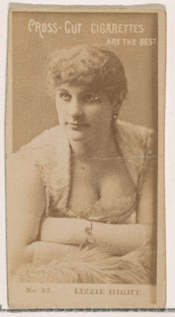 Card Number 52, Lizzie Hight, from the Actors and Actresses series (N145-2) issued by Duke Sons & Co. to promote Cross Cut Cigarettes