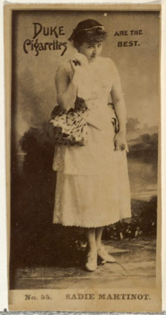 Card Number 55, Sadie Martinot, from the Actors and Actresses series (N145-6) issued by Duke Sons & Co. to promote Duke Cigarettes
