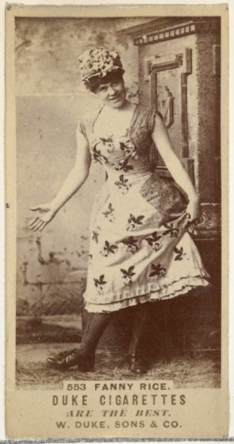 Card Number 553, Fanny Rice, from the Actors and Actresses series (N145-7) issued by Duke Sons & Co. to promote Duke Cigarettes