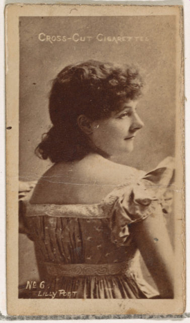 Card Number 6, Lilly Post, from the Actors and Actresses series (N145-1) issued by Duke Sons & Co. to promote Cross Cut Cigarettes
