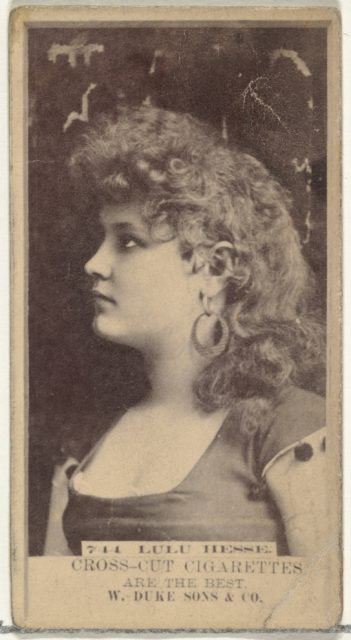 Card Number 744, Lulu Hesse, from the Actors and Actresses series (N145-3) issued by Duke Sons & Co. to promote Cross Cut Cigarettes