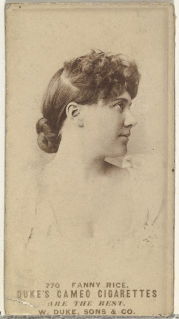 Card Number 770, Fanny Rice, from the Actors and Actresses series (N145-5) issued by Duke Sons & Co. to promote Cameo Cigarettes