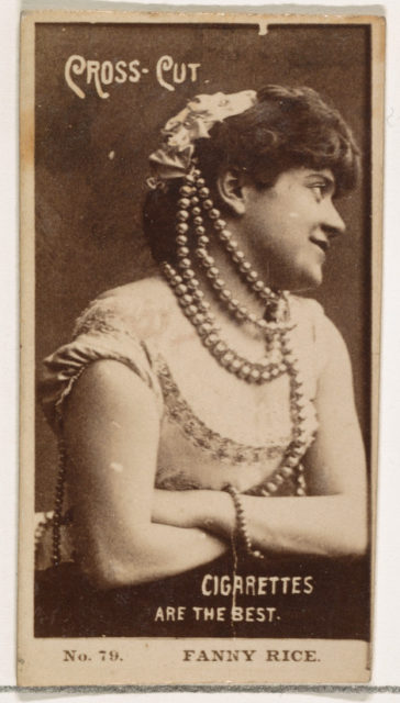 Card Number 79, Fanny Rice, from the Actors and Actresses series (N145-2) issued by Duke Sons & Co. to promote Cross Cut Cigarettes