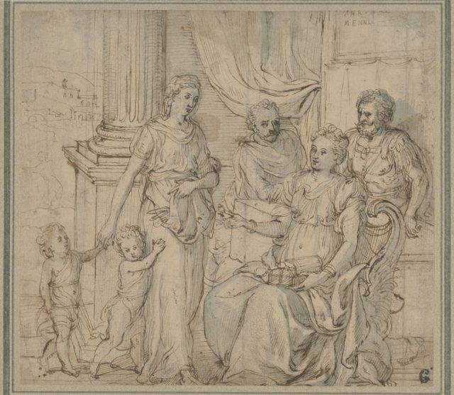 Cornelia, Mother of the Gracchi, Pointing to her Children as her Most Precious Ornaments