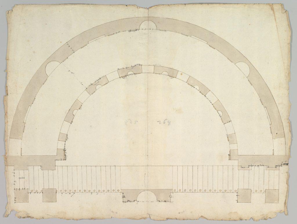 Cortile del Belvedere, Upper Courtyard, stair, plan (recto) blank (verso)