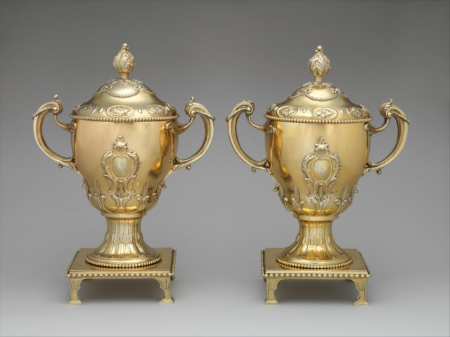 Cup with cover and stand (one of a pair)