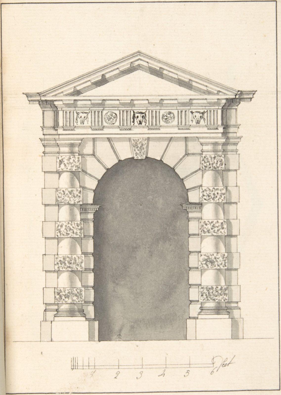Elevation of Rustic Doric Doorway