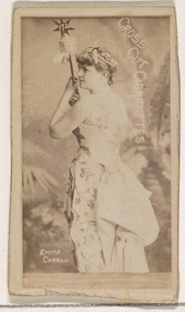 Emma Corson, from the Actors and Actresses series (N145-1) issued by Duke Sons & Co. to promote Cross Cut Cigarettes