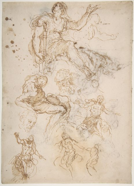 Figure Studies: Seated Female Holding a Book, Two Heads of Bearded Men, Seated Male Nude, and Four Sketches for Christ Judging (recto); Studies for Cain Slaying Abel (verso)