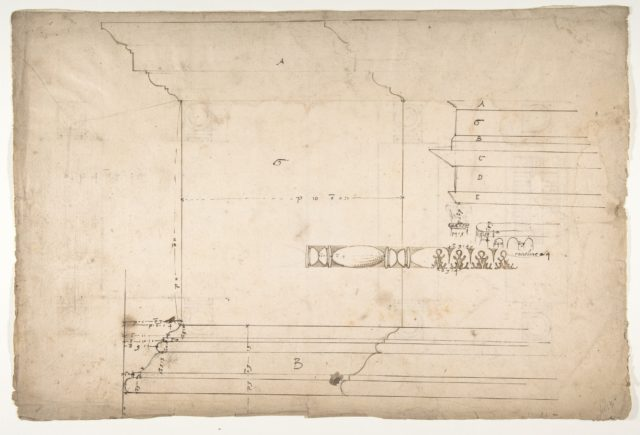 Forum of Nerva, colonnade, profiles of attic and entablature, architrave and column detail (recto) Arch of Constantine, plan (verso)