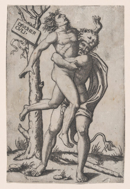 Hercules, grasping Antaeus at the waist with both arms and lifting him off his feet, in background at right the ruins of a temple, at left a group of trees against which are posed a club and the skin of a lion