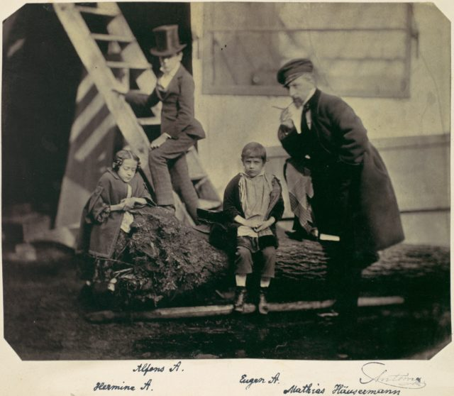 [Hermine, Alfons and Eugen Antoine and Mathias Höusermann on a fallen tree]