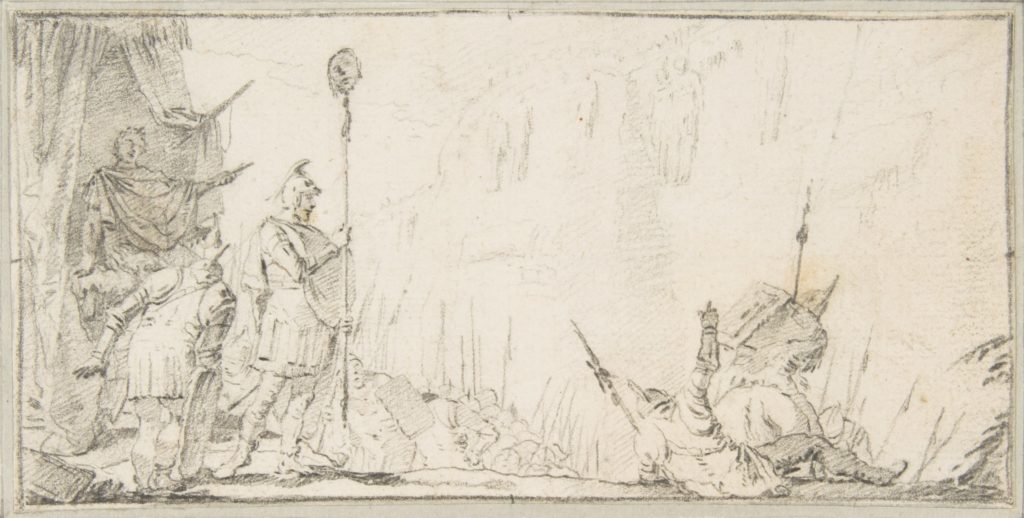 """Illustration for a Book:  Soldier in front of """"General"""" Holding up a Decapitated Head on a Staff"""