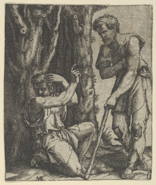 Man kneeling at the edge of a wood pointing with his right hand towards a shepherd standing in front of him leaning on a staff
