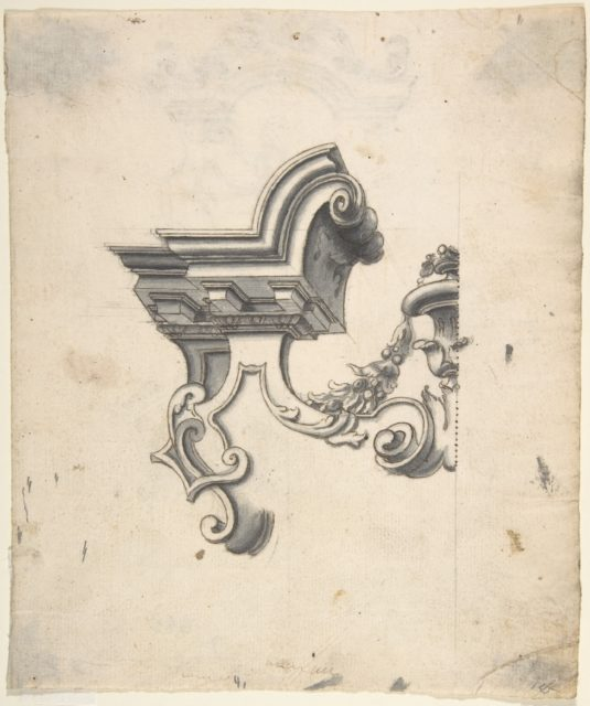 One Half of a Design for an Overdoor (?) (recto); Two Designs for Altars, one for a Capital (?) (verso)
