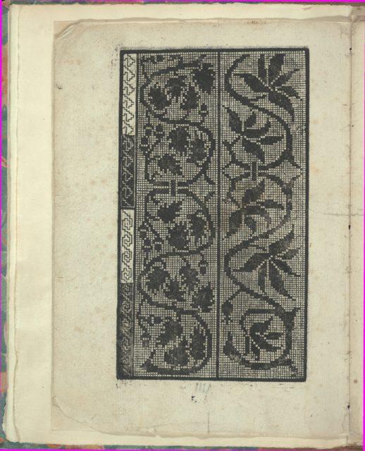 Opera Nova Universali intitulata Corona di racammi, page 3 (verso)