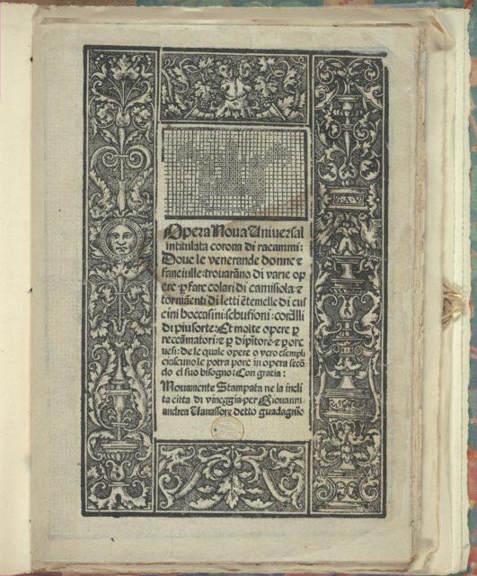 Opera Nova Universali intitulata Corona di racammi, title page (recto)