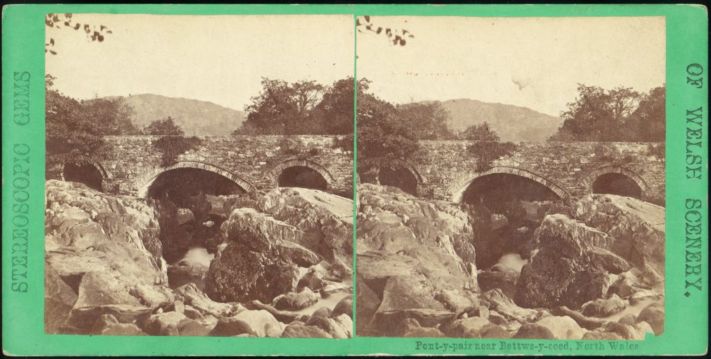 [Pair of Early Stereograph Views of British Bridges]