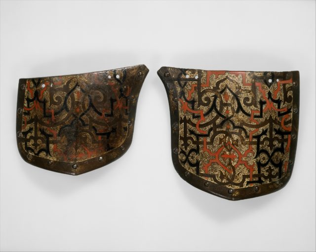 """Pair of Tassets (Thigh Defenses) Belonging to an Armor for Field and Tournament Made for Duke Nikolaus """"The Black"""" Radziwill (1515–1565), Duke of Nesvizh and Olyka, Prince of the Empire, Grand Chancellor and Marshal of Lithuania"""