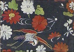 Piece from a Kosode with Crane and Chrysanthemums