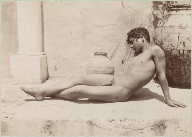 [Reclining Male Nude Beside Vase]