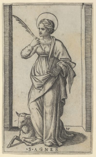 Saint Agnes standing a holding a palm in her right hand, a sheep lower left, from the series 'Piccoli Santi' (Small Saints)