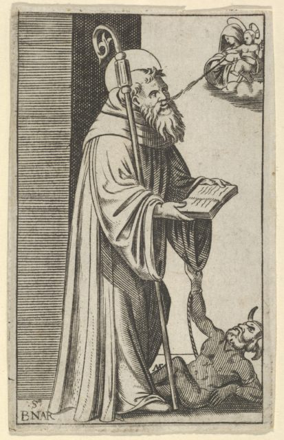 Saint Bernard standing holding an open book, a chained dragon at the lower right, from the series 'Piccoli Santi' (Small Saints)