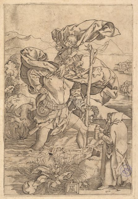 Saint Christopher crossing the river with Christ in the form of a putto on his shoulders and a hermit in the foreground, after Dürer