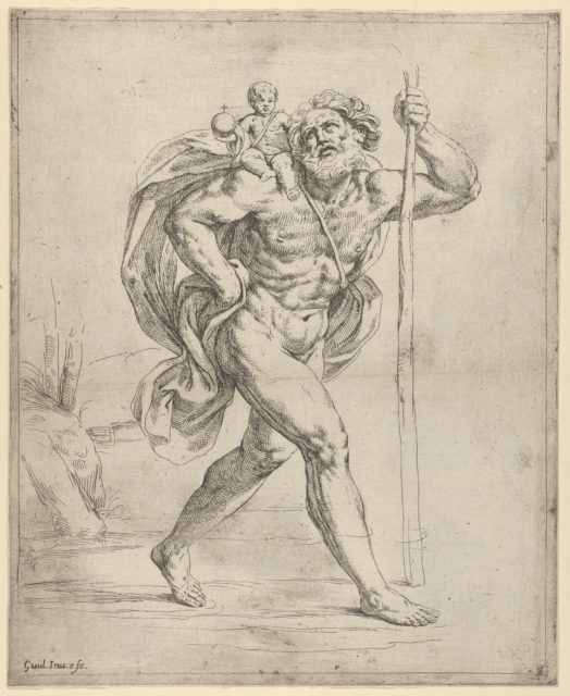 Saint Christopher walking with the infant Christ on his right shoulder