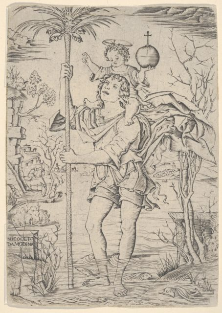 Saint Christopher with the Christ Child on his shoulder