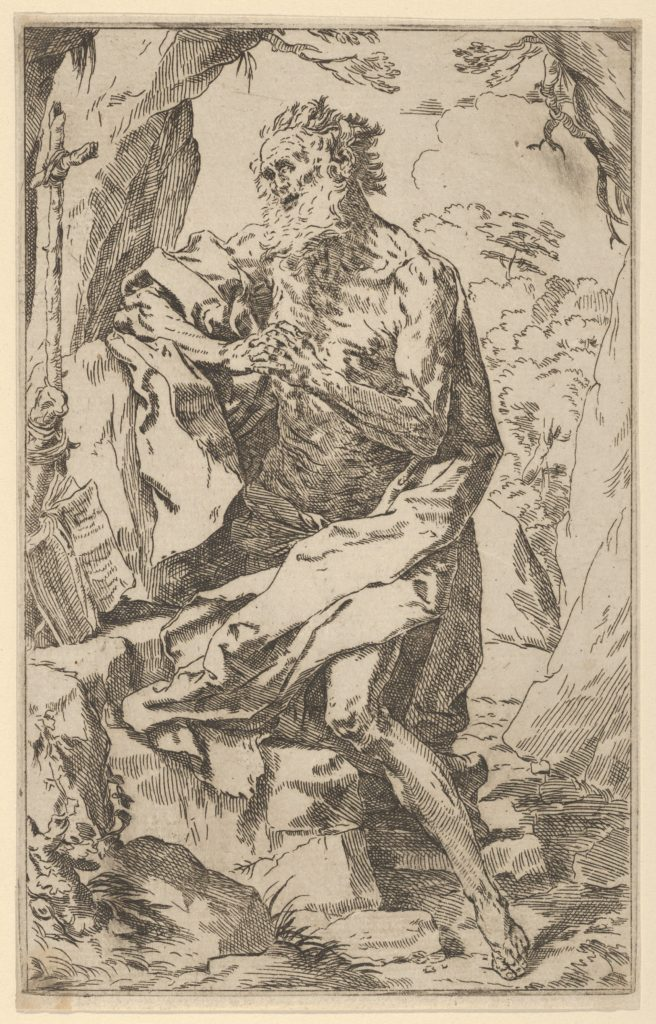 Saint Jerome kneeling on a rock in front of a cross and an open book facing left, after Reni