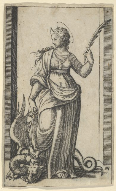 Saint Margaret standing, a dragon at the left, from the series 'Piccoli Santi' (Small Saints)