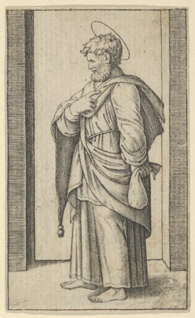 Saint Matthew, a small sack in his left hand, from the series 'Piccoli Santi' (Small Saints)