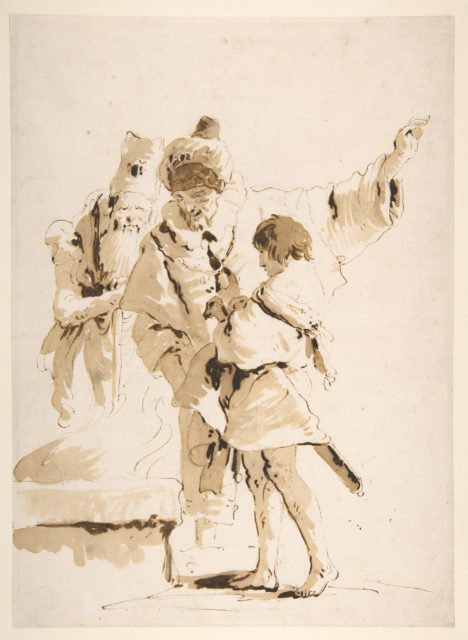 Scherzo di Fantasia: Two Standing Orientals and a Standing Youth with a Sword