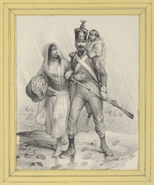Soldier with a woman on his arm and a child on his back